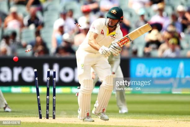 Shaun Marsh of Australia is bowled by Chris Woakes of England during day four of the Second Test match during the 2017/18 Ashes Series between...