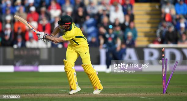 Shaun Marsh of Australia is bowled by Liam Plunkett of England during the 2nd Royal London ODI between England and Australia at SWALEC Stadium on...