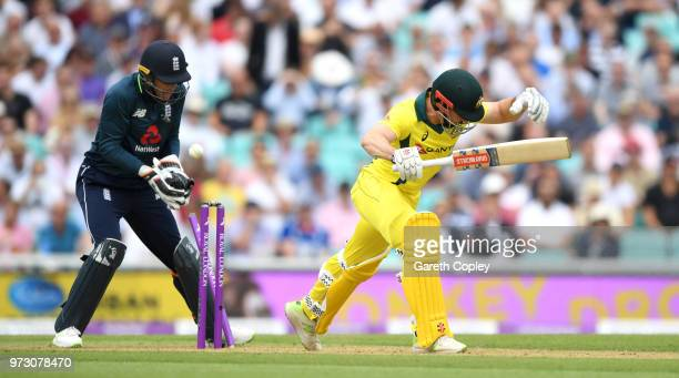 Shaun Marsh of Australia is bowled by Moeen Ali of England during the 1st Royal London ODI match between England and Australia at The Kia Oval on...