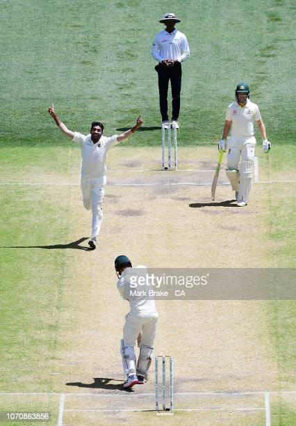 Shaun Marsh of Australia out caught keeper off Jasprit Bumrah of India for 60 during day five of the First Test match in the series between Australia...