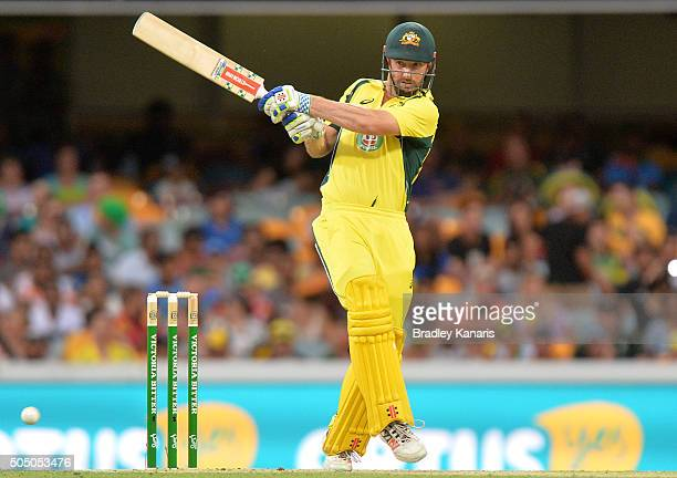 Shaun Marsh of Australia plays a shot during game two of the Victoria Bitter One Day International Series between Australia and India at The Gabba on...