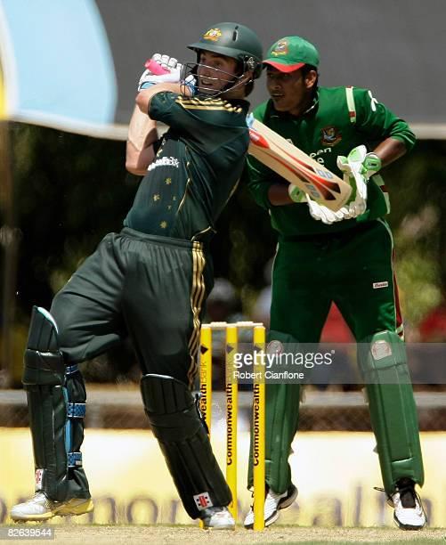 Shaun Marsh of Australia pulls during the second one day international match between Australia and Bangladesh held at TIO Stadium on September 3,...