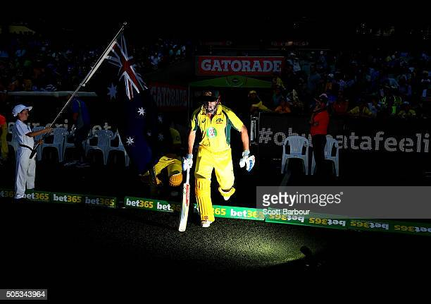 Shaun Marsh of Australia walks out to bat during game three of the One Day International Series between Australia and India at the Melbourne Cricket...