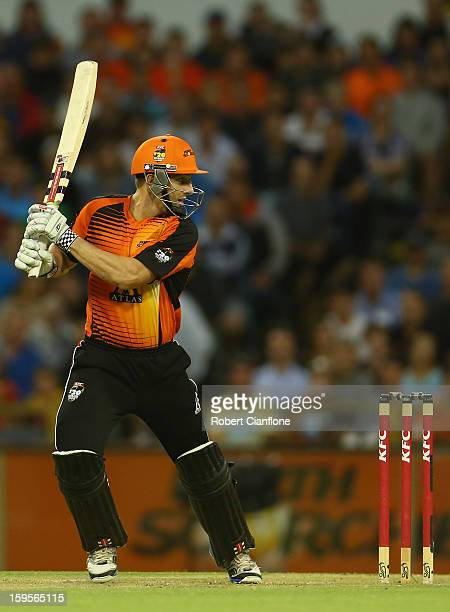 Shaun Marsh of the Perth Scorchers bats during the Big Bash League semifinal match between the Perth Scorchers and the Melbourne Stars at the WACA on...