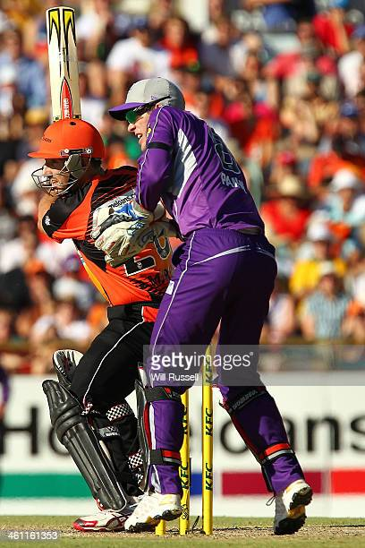 Shaun Marsh of the Perth Scorchers bats during the Big Bash League match between the Perth Scorchers and the Hobart Hurricanes at WACA on January 7...