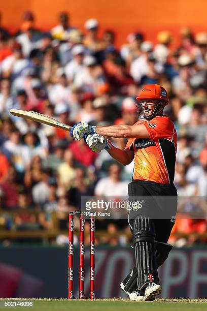 Shaun Marsh of the Scorchers bats during the Big Bash League match between Perth Scorchers and Adelaide Strikers at WACA on December 21 2015 in Perth...