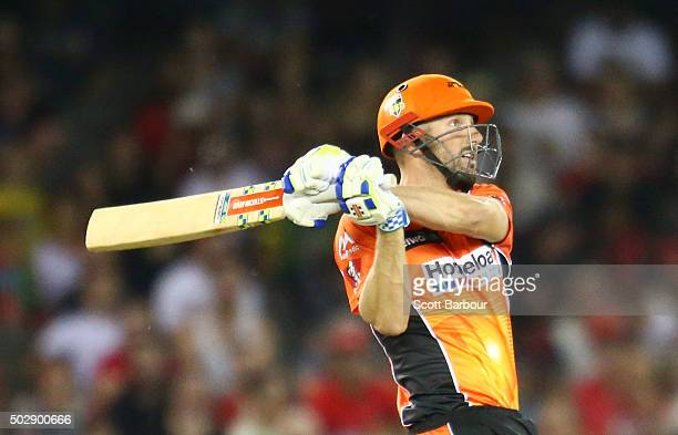 Shaun Marsh of the Scorchers bats during the Big Bash League match between the Melbourne Renegades and the Perth Scorchers at Etihad Stadium on...