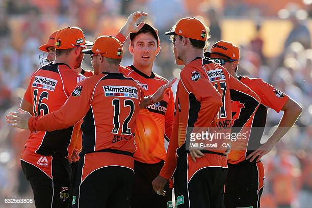 Shaun Marsh of the Scorchers celebrates after taking a catch to dismiss Evan Gulbis of the Stars off the bowling of Ashton Agar of the Scorchers...