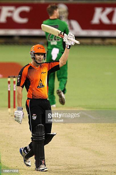 Shaun Marsh of the Scorchers celebrates getting a halfcentury during the Big Bash League semifinal match between the Perth Scorchers and the...