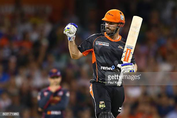 Shaun Marsh of the Scorchers celebrates winning the Big Bash League match between Perth Scorchers and Sydney Sixers at WACA on January 2 2016 in...
