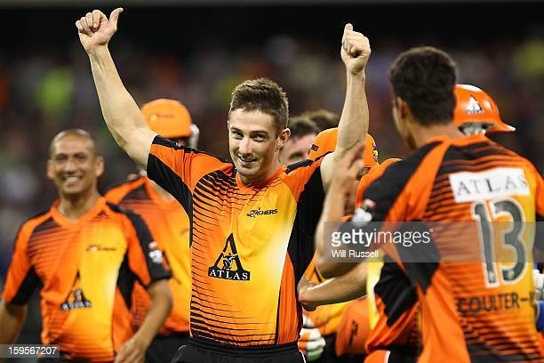 Shaun Marsh of the Scorchers celebrates with teammates after their victory during the Big Bash League semifinal match between the Perth Scorchers and...