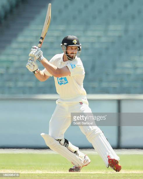 Shaun Marsh of the Warriors bats during day two of the Sheffield Shield match between the Victoria Bushrangers and the Western Australia Warriors at...