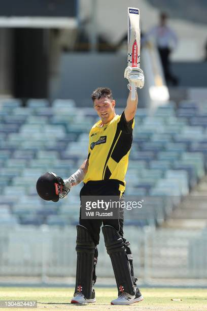 Shaun Marsh of the Warriors celebrates his century during the Marsh One Day Cup match between Western Australia and South Australia at WACA on March...