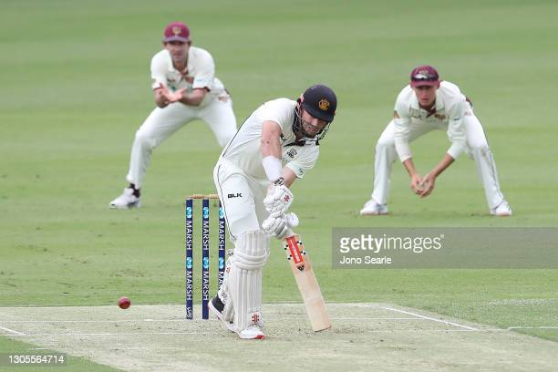 Shaun Marsh of WA bats during day one of the Sheffield Shield match between Queensland and Western Australia at The Gabba on March 06, 2021 in...