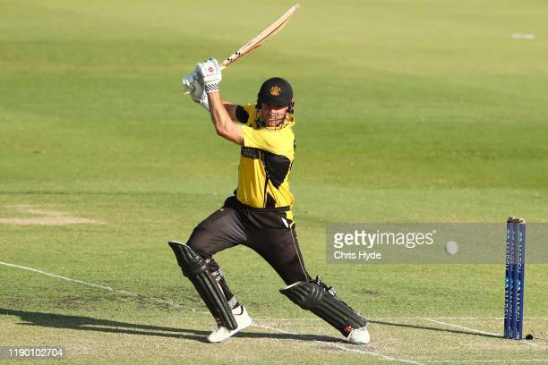 Shaun Marsh of Western Australia bats during the Marsh One Day Cup Final between Queensland and Western Australia at the Allan Border Field on...