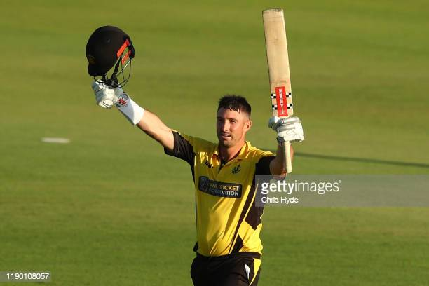 Shaun Marsh of Western Australia celebrates his century during the Marsh One Day Cup Final between Queensland and Western Australia at the Allan...