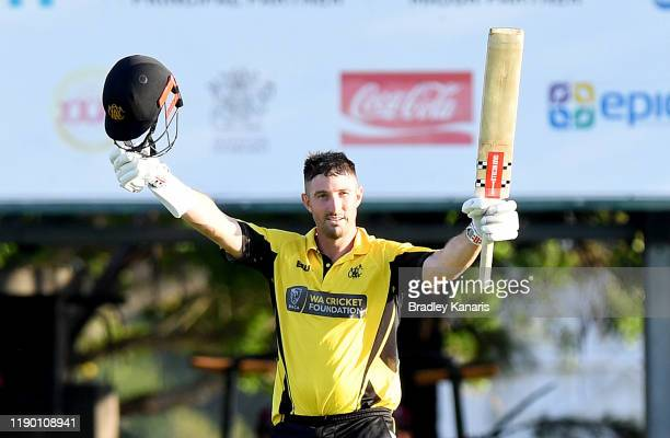 Shaun Marsh of Western Australia celebrates scoring a century during the Marsh One Day Cup Final between Queensland and Western Australia at the...