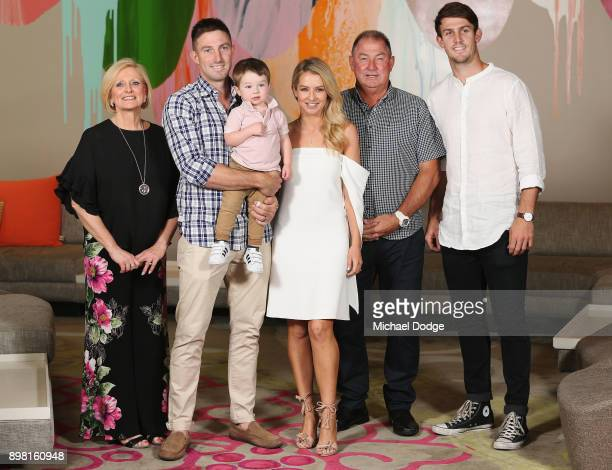Shaun Marsh poses wife Bec Marsh and son Austin along with brother Mitch Marsh and dad Geoff and mum at Crown Metropol after the Australian nets...