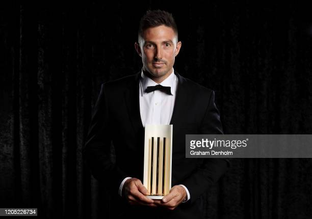 Shaun Marsh poses with the Men's Domestic Player of the Year award during the 2020 Cricket Australia Awards at Crown Palladium on February 10 2020 in...