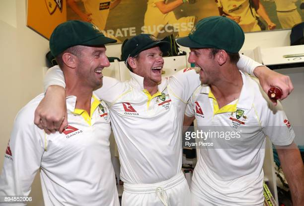 Shaun Marsh Steve Smith and Mitch Marsh of Australia celebrate in the changerooms after Australia regained the Ashes during day five of the Third...