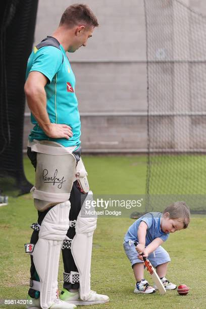 Shaun Marsh watches son Austin hit the ball during the Australian nets session at the Melbourne Cricket Ground on December 25 2017 in Melbourne...
