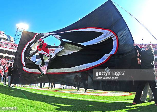 Shaun McGee of the Georgia Bulldogs takes the field before the game against the Georgia Tech Yellow Jackets at Sanford Stadium on November 26 2016 in...