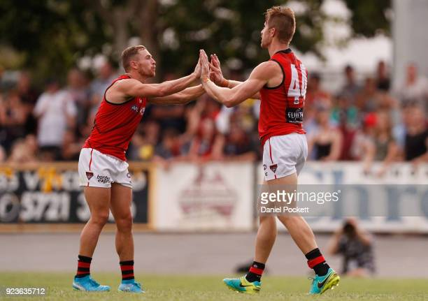 Shaun McKernan of the Bombers celebrates a goal during the JLT Community Series AFL match between the Essendon Bombers and the Richmond Tigers at...