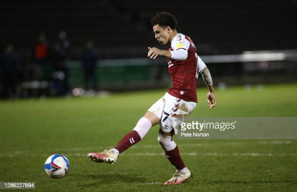 Shaun McWilliams of Northampton Town takes his penalty during a penalty shoot out during the Papa John's Trophy match between Northampton Town and...
