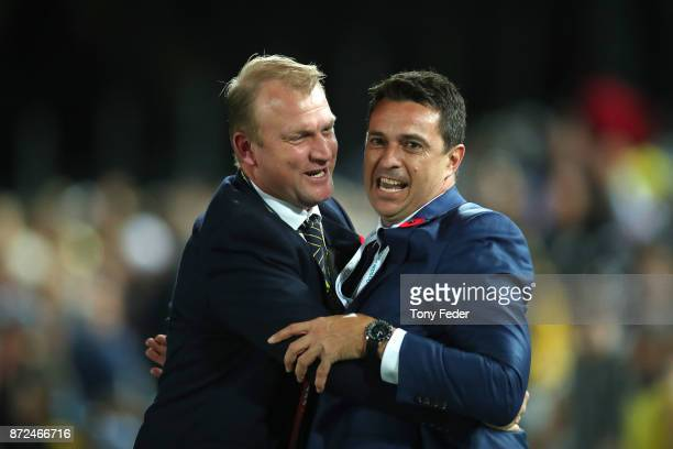 Shaun Mielekamp CEO of the Mariners celebrates the win over Sydney with Mariners coach Paul Okon during the round six ALeague match between the...