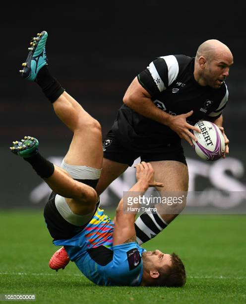 Shaun Molton of Bristol Bears is tackled by Tommaso Castello of Zebre Rugby during the Challenge Cup match between Bristol Bears and Zebre Rugby at...