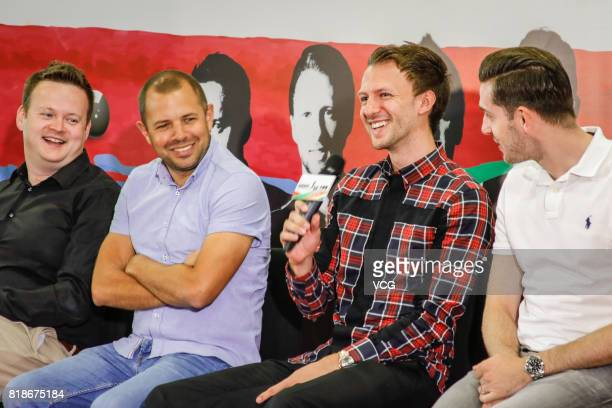Shaun Murphy Barry Hawkins Judd Trump Mark Selby attend a press conference of 2017 Hong Kong Masters at Queen Elizabeth Stadium on July 19 2017 in...