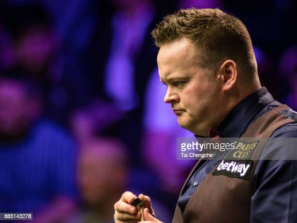Shaun Murphy of England looks on during his second round match against Liam Highfield of England on day 7 of 2017 Betway UK Championship on December...