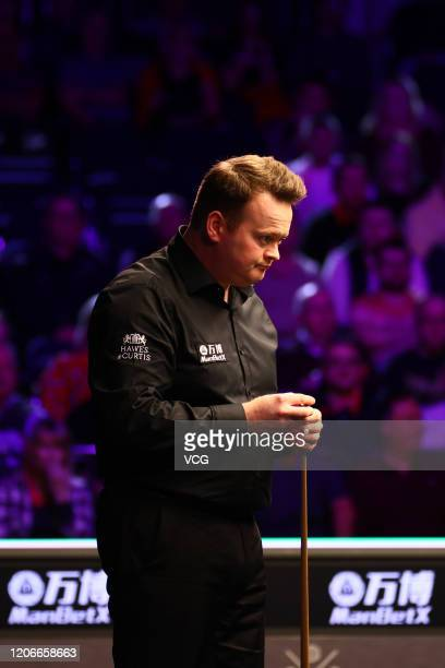 Shaun Murphy of England looks on during the final match against Kyren Wilson of England on day seven of the 2020 ManBetX Welsh Open at the Motorpoint...