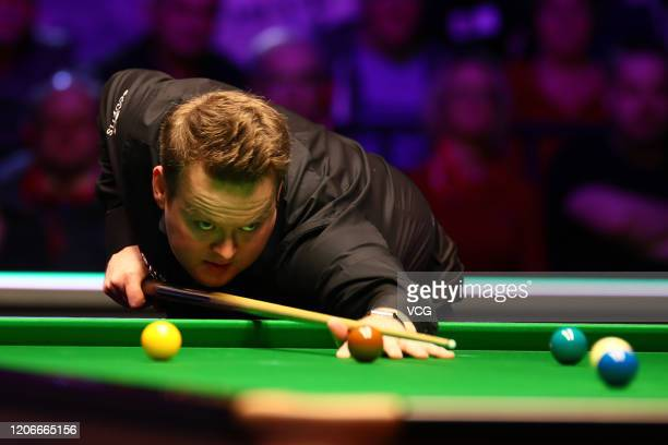 Shaun Murphy of England plays a shot during the final match against Kyren Wilson of England on day seven of the 2020 ManBetX Welsh Open at the...