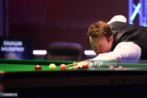 Shaun Murphy of England plays a shot during the quarter-final match against Mark Allen of Northern Ireland on day five of 2020 Coral Players...