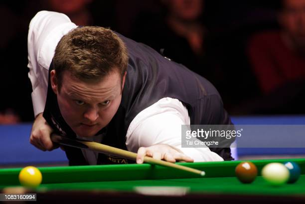 Shaun Murphy of England plays a shot during the semi-final match against Judd Trump of England on day 6 of 2018 BetVictor Scottish Open at Emirates...