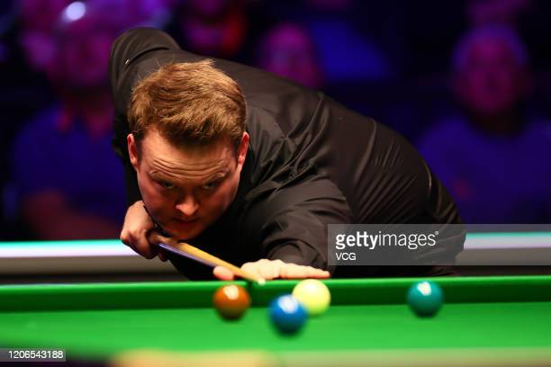 Shaun Murphy of England plays a shot during the semi-final match against Yan Bingtao of China on day six of the 2020 ManBetX Welsh Open at the...