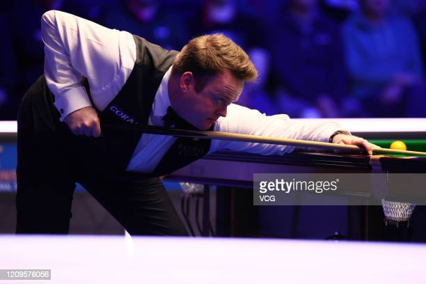 Shaun Murphy of England plays a shot during the semi-final match against Yan Bingtao of China on day six of 2020 Coral Players Championship at...