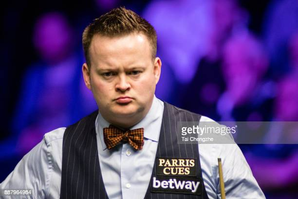 Shaun Murphy of England reacts during his eighthfinal round match against Ricky Walden of England on day 11 of 2017 Betway UK Championship at...