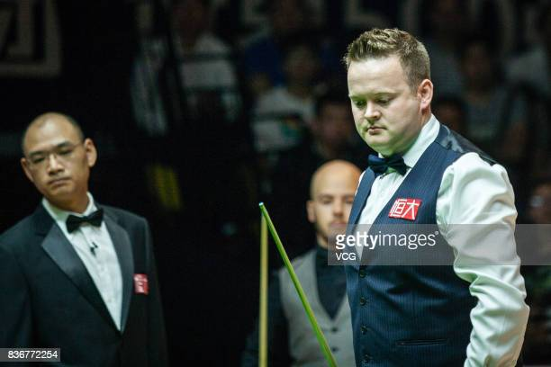 Shaun Murphy of England reacts during his final match against Luca Brecel of Belgium on day seven of Evergrande 2017 World Snooker China Champion at...