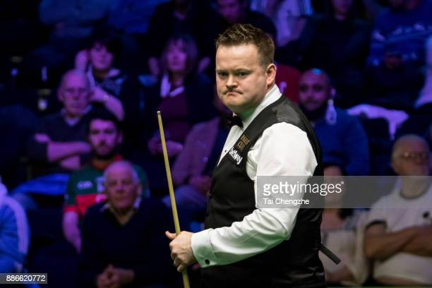Shaun Murphy of England reacts during his third round match against Jimmy Robertson of England on day 9 of 2017 Betway UK Championship at Barbican...