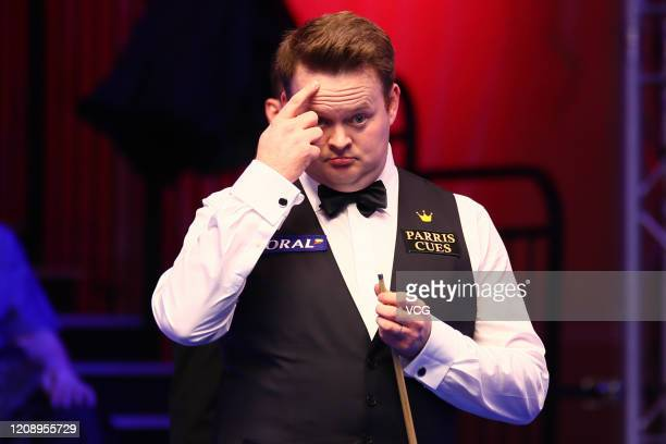 Shaun Murphy of England reacts during the 1st round match against David Gilbert of England on day three of 2020 Coral Players Championship at...