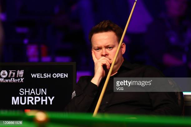 Shaun Murphy of England reacts during the final match against Kyren Wilson of England on day seven of the 2020 ManBetX Welsh Open at the Motorpoint...