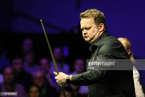 Shaun Murphy of England reacts during the quarter-final match against Ronnie O'Sullivan of England on day five of 2019 Northern Ireland Open at...
