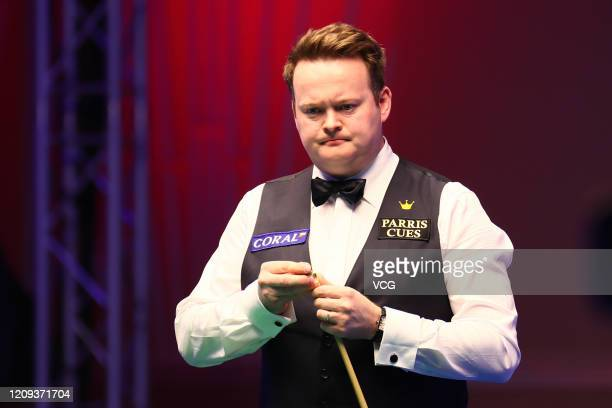 Shaun Murphy of England reacts during the quarter-final match against Mark Allen of Northern Ireland on day five of 2020 Coral Players Championship...