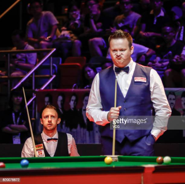 Shaun Murphy of England reacts during the quarterfinal match against Judd Trump of England on day two of 2017 Hong Kong Masters at Queen Elizabeth...