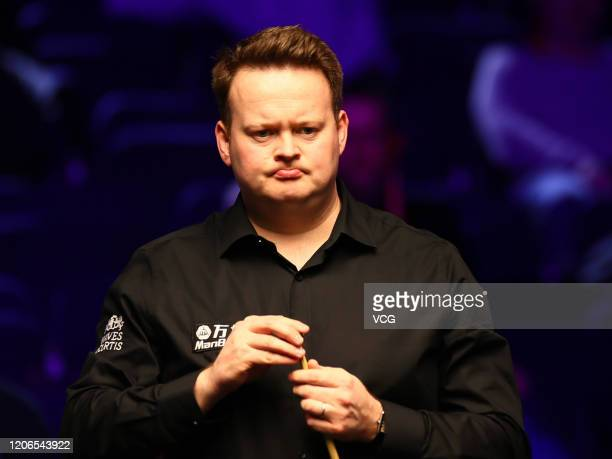 Shaun Murphy of England reacts during the semi-final match against Yan Bingtao of China on day six of the 2020 ManBetX Welsh Open at the Motorpoint...