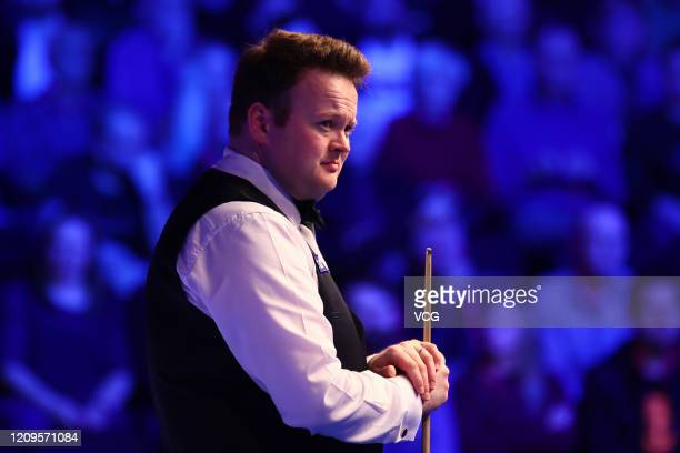 Shaun Murphy of England reacts during the semi-final match against Yan Bingtao of China on day six of 2020 Coral Players Championship at Southport...