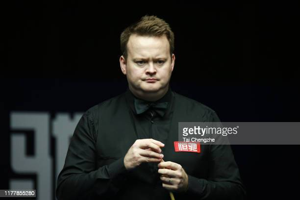 Shaun Murphy of England reacts in the final match against Mark Williams of Wales on Day seven of Evergrande 2019 World Snooker China Championship at...