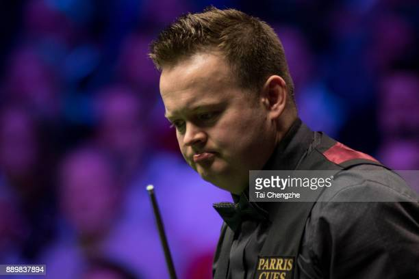 Shaun Murphy of England reacts in the final match against Ronnie O'Sullivan of England during the 2017 Betway UK Championship at Barbican Centre on...